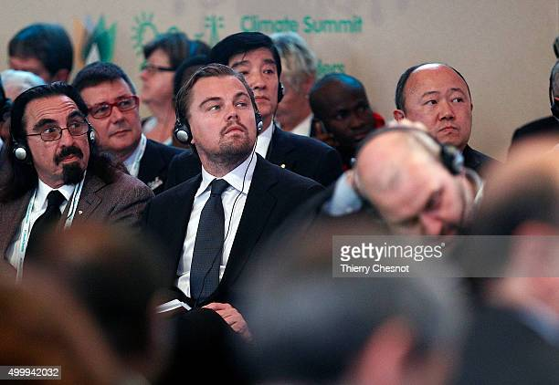 US actor Leonardo DiCaprio and his father George DiCaprio attend a Summit of Local elected for Climate at the Paris city hall on December 04 2015 in...