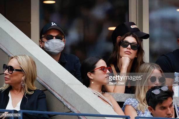 Actor Leonardo DiCaprio and his girlfriend, model/actress, Camila Morrone watch the Men's Singles final match between Daniil Medvedev of Russia and...