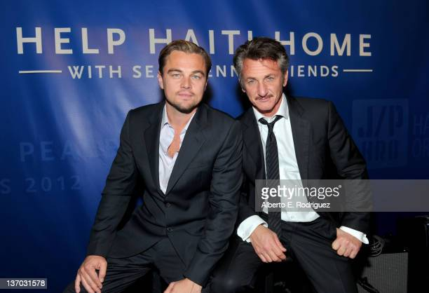 Actor Leonardo DiCaprio and honoree Sean Penn attend the Cinema For Peace event benefitting J/P Haitian Relief Organization in Los Angeles held at...