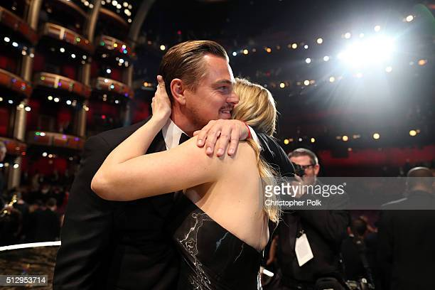 Actor Leonardo DiCaprio and Kate Winslet attend the 88th Annual Academy Awards at Dolby Theatre on February 28, 2016 in Hollywood, California.