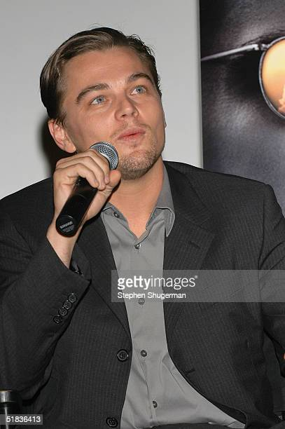 Actor Leonardo DiCaprio answers questions from the audience during the Q A following the Variety Screening Series 'The Aviator' at the ArcLight...