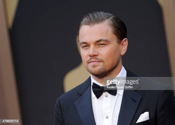 Actor Leonardo DiCaprio arrives at the 86th Annual Academy Awards at Hollywood Highland Center on March 2 2014 in Hollywood California