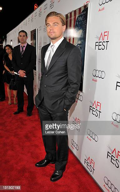 """Actor Leonardo DiCaprio arrives at the AFI Fest 2011 Opening Night Gala World Premiere Of """"J. Edgar"""" at Grauman's Chinese Theatre on November 3, 2011..."""