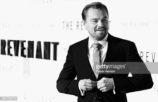"""Actor Leonardo DiCaprio arrives at the Premiere Of 20th Century Fox And Regency Enterprises' """"The Revenant"""" at TCL Chinese Theatre on December 16,..."""