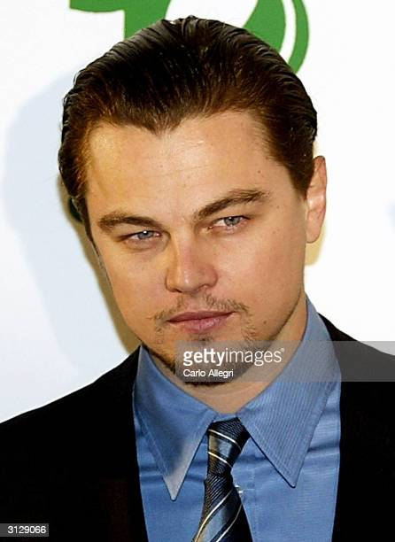 Actor Leonardo DiCaprio arrives for the Millennium Awards put on by Global Green USA on March 24 2004 in Los Angeles California