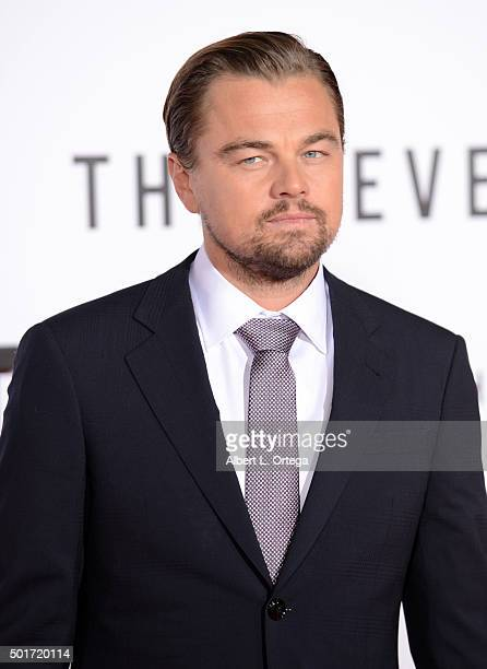 """Actor Leonardo DiCaprio arrives for the premiere of 20th Century Fox And Regency Enterprises' """"The Revenant"""" held at TCL Chinese Theatre on December..."""