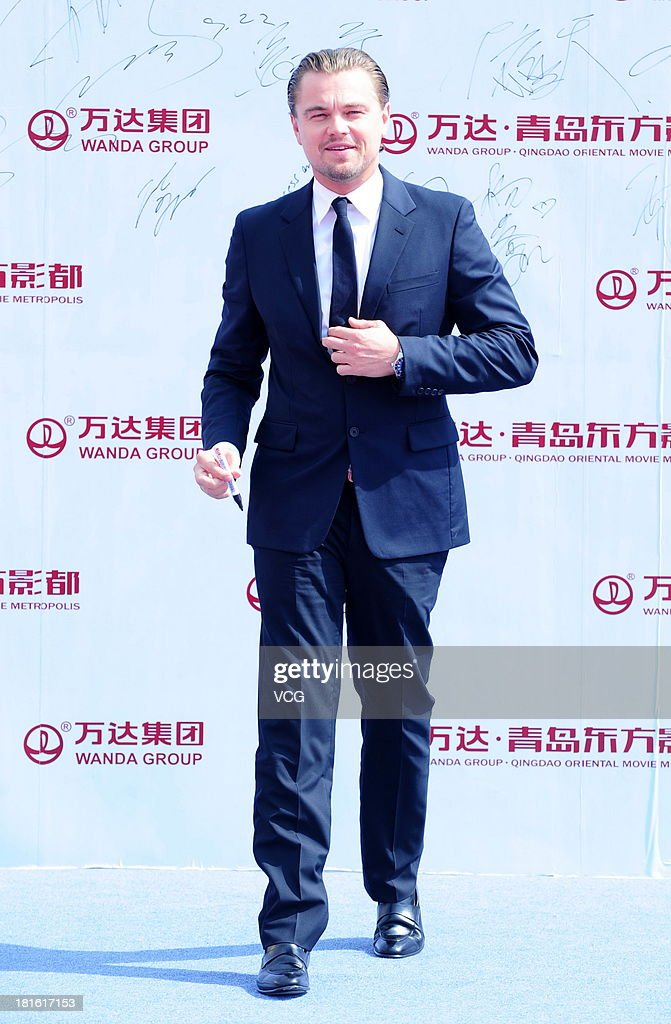 Actor Leonardo DiCaprio attends a launching ceremony for the Qingdao Oriental Movie Metropolis on September 22, 2013 in Qingdao, China.