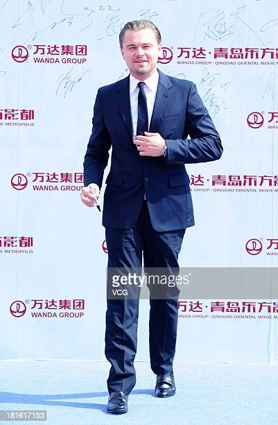 Actor Leonardo DiCaprio attends a launching ceremony for the Qingdao Oriental Movie Metropolis on September 22 2013 in Qingdao China