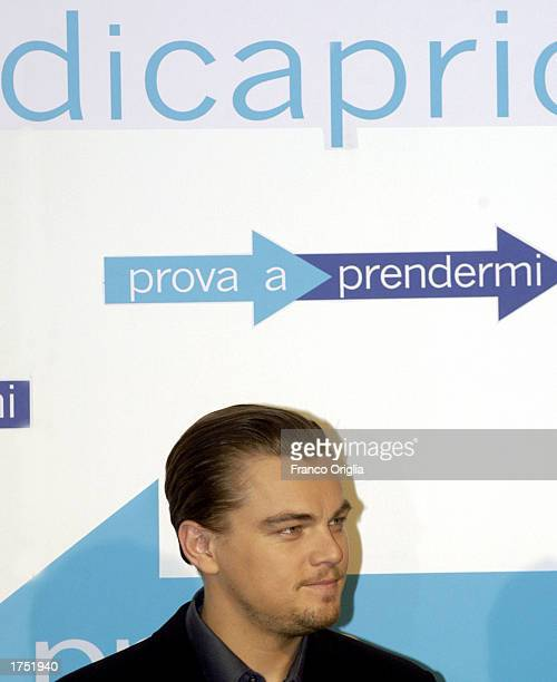Actor Leonardo DiCaprio attends a promotional viewing of his new film Catch Me If You Can at the Cinema Adriano January 29 2003 in Rome Italy