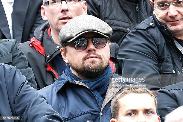 Actor Leonardo DiCaprio attends Day Thirteen of the 2016 French Tennis Open at Roland Garros on June 3 2016 in Paris France