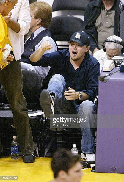Actor Leonardo DiCaprio attends Game Six of the NBA Western Conference Finals between the Minnesota Timberwolves and the Los Angeles Lakers on May 31...
