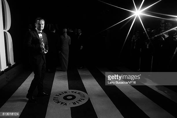 Actor Leonardo DiCaprio attends the 2016 Vanity Fair Oscar Party hosted by Graydon Carter at Wallis Annenberg Center for the Performing Arts on...
