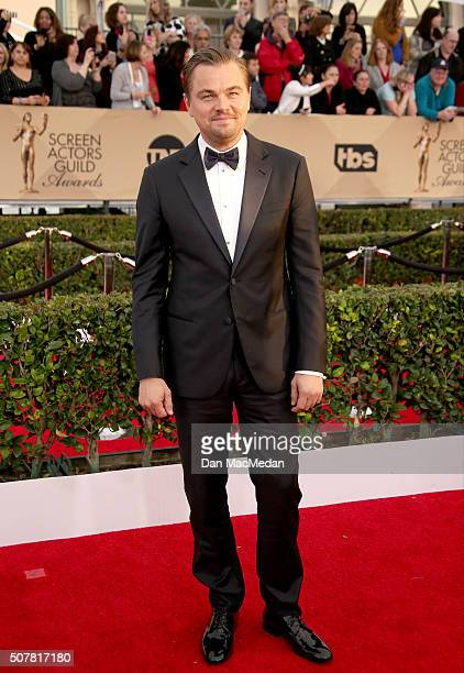 Actor Leonardo DiCaprio attends the 22nd Annual Screen Actors Guild Awards at The Shrine Auditorium on January 30 2016 in Los Angeles California