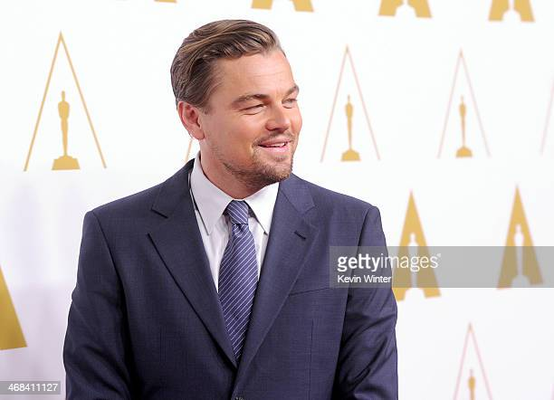 Actor Leonardo DiCaprio attends the 86th Academy Awards nominee luncheon at The Beverly Hilton Hotel on February 10 2014 in Beverly Hills California
