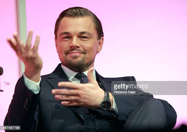 Actor Leonardo DiCaprio attends the Cinema Vanguard Award to Martin Scorsese and Leonardo DiCaprio at the Arlington Theatre on February 6 2014 in...