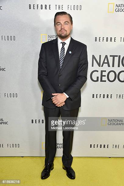 Actor Leonardo DiCaprio attends the National Geographic Channel Before the Flood screening at United Nations Headquarters on October 20 2016 in New...