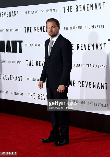 Actor Leonardo DiCaprio attends the premiere of 20th Century Fox and Regency Enterprises' The Revenant at the TCL Chinese Theatre on December 16 2015...