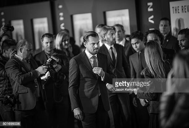 """Actor Leonardo DiCaprio attends the premiere of 20th Century Fox's """"The Revenant"""" at TCL Chinese Theatre on December 16, 2015 in Hollywood,..."""
