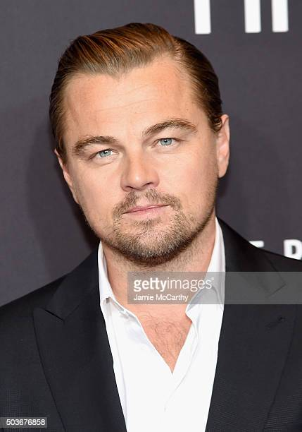 Actor Leonardo DiCaprio attends 'The Revenant' New York special screening on January 6 2016 in New York City