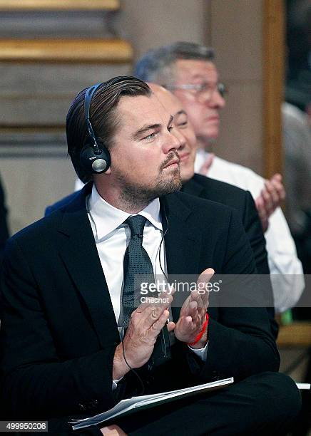 US actor Leonardo DiCaprio attends the Summit of Local elected for Climate at the Paris city hall on December 04 2015 in Paris France Thousand mayors...