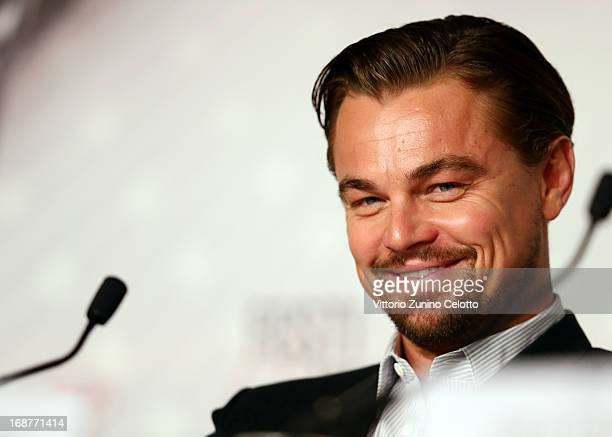 Actor Leonardo DiCaprio attends the 'The Great Gatsby' Press Conference during the 66th Annual Cannes Film Festival at the Palais des Festivals on...