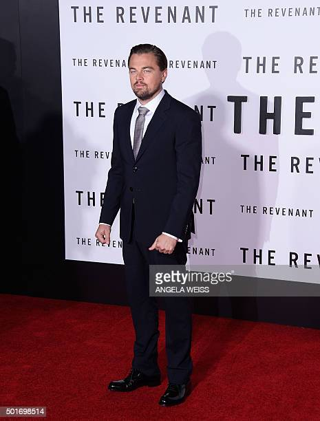 """Actor Leonardo DiCaprio attends the World Premiere of """"The Revenant"""" in Hollywood, California, on December 16, 2015. AFP PHOTO /ANGELA WEISS / AFP /..."""