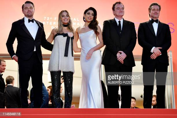 US actor Leonardo DiCaprio Australian actress Margot Robbie US film director Quentin Tarantino and his wife Israeli singer Daniela Pick and US actor...
