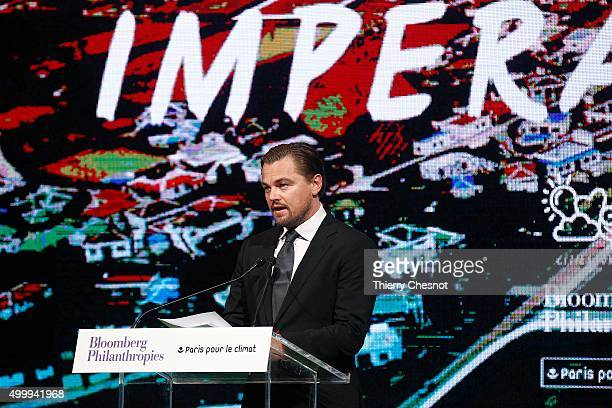 US actor Leonardo DiCaprio delivers a speech during the Summit of Local elected for Climate at the Paris city hall on December 04 2015 in Paris...