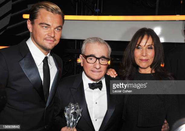 Actor Leonardo DiCaprio director Martin Scorsese and Olivia Harrison is seen in the audience at the 17th Annual Critics' Choice Movie Awards held at...