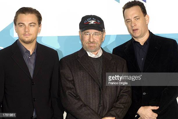 Actor Leonardo DiCaprio director Steven Spielberg and actor Tom Hanks attend a promotional viewing of their new film Catch Me If You Can at the...