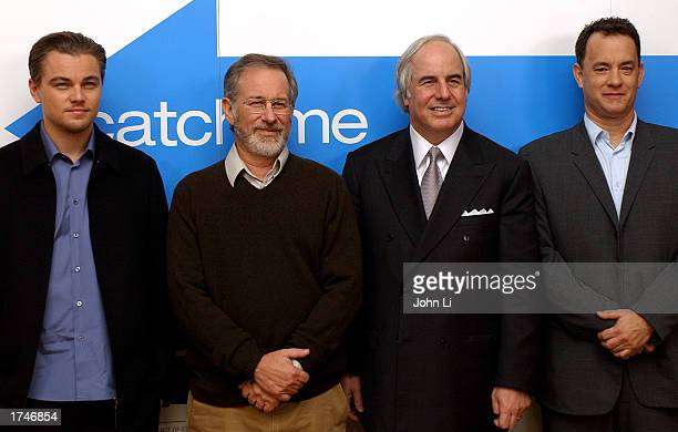 Actor Leonardo DiCaprio director Steven Spielberg Frank Abagnale and actor Tom Hanks attend a press conference before the United Kingdom premiere of...