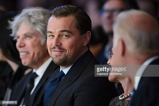 US actor Leonardo DiCaprio looks on during the 22nd Annual Crystal Awards at the opening of the World Economic Forum in Davos on January 19 2016 More...