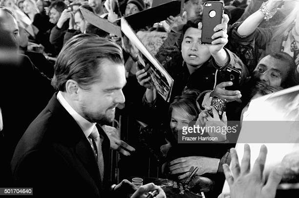 """Actor Leonardo DiCaprio meets fans at the Premiere Of 20th Century Fox And Regency Enterprises' """"The Revenant"""" at TCL Chinese Theatre on December 16,..."""