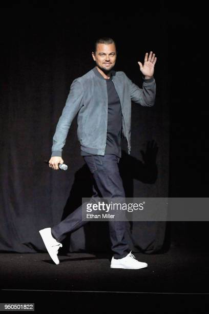 Actor Leonardo DiCaprio onstage during the CinemaCon 2018 Gala Opening Night Event Sony Pictures Highlights its 2018 Summer and Beyond Films at The...