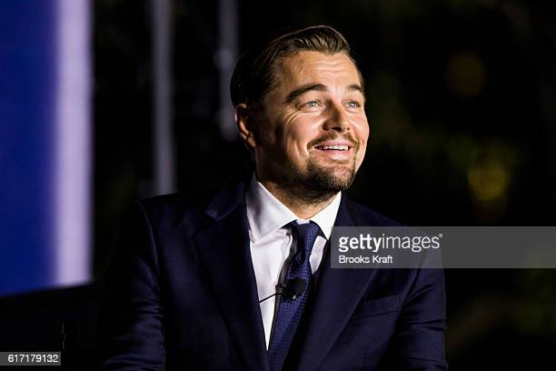 Actor Leonardo DiCaprio participates in a conversation during the 'South By South Lawn' SXSL festival on October 3 2016 in Washington DC The White...