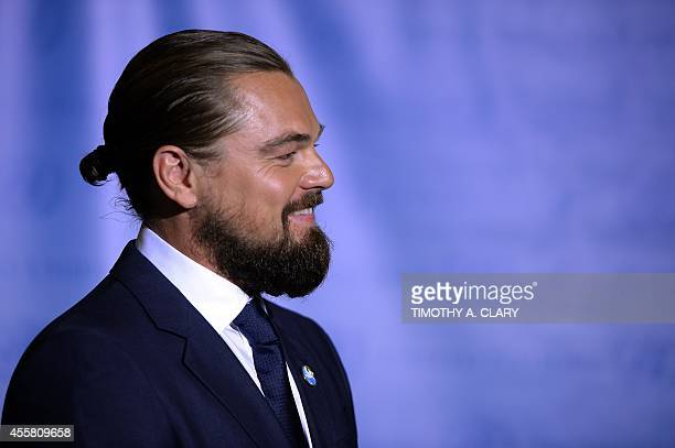 US actor Leonardo DiCaprio poses during the designate ceremony as UN Messenger of Peace at the United Nations September 20 2014 in New York The 69th...