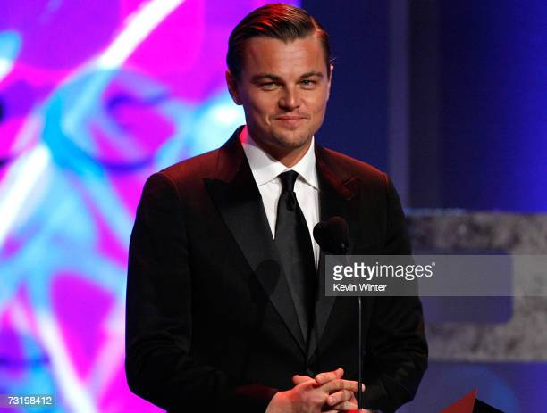 ACCESS Actor Leonardo DiCaprio presents The Departed onstage during the 59th annual Directors Guild Of America Awards held at Hyatt Regency Century...
