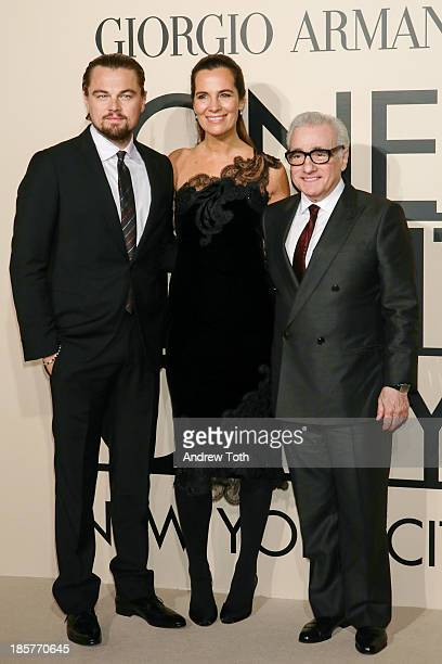 Actor Leonardo DiCaprio Roberta Armani and director Martin Scorsese attend Giorgio Armani One Night Only New York at SuperPier on October 24 2013 in...