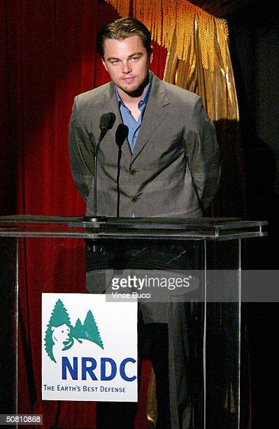 """Actor Leonardo DiCaprio speaks at the """"Earth To LA - The Greatest Show On Earth"""" event benefitting the Natural Resources Defense Council on May 6,..."""