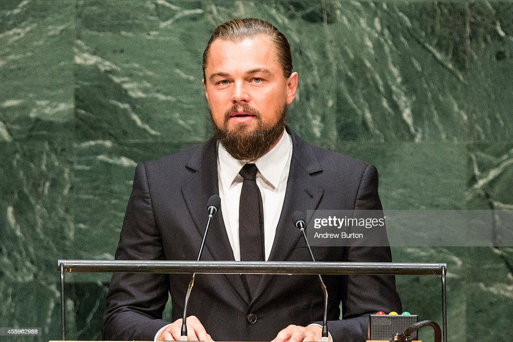 Actor Leonardo DiCaprio speaks at the United Nations Climate Summit on September 23, 2014 in New York City. The summit, which is meeting one day before the UN General Assembly begins, is bringing together world leaders, scientists and activists looking to curb climate change.