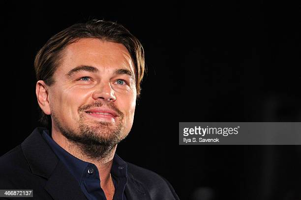 Actor Leonardo DiCaprio speaks during the 20132014 Variety Screening of 'The Wolf Of Wall Street' at Chelsea Bow Tie Cinemas on February 4 2014 in...