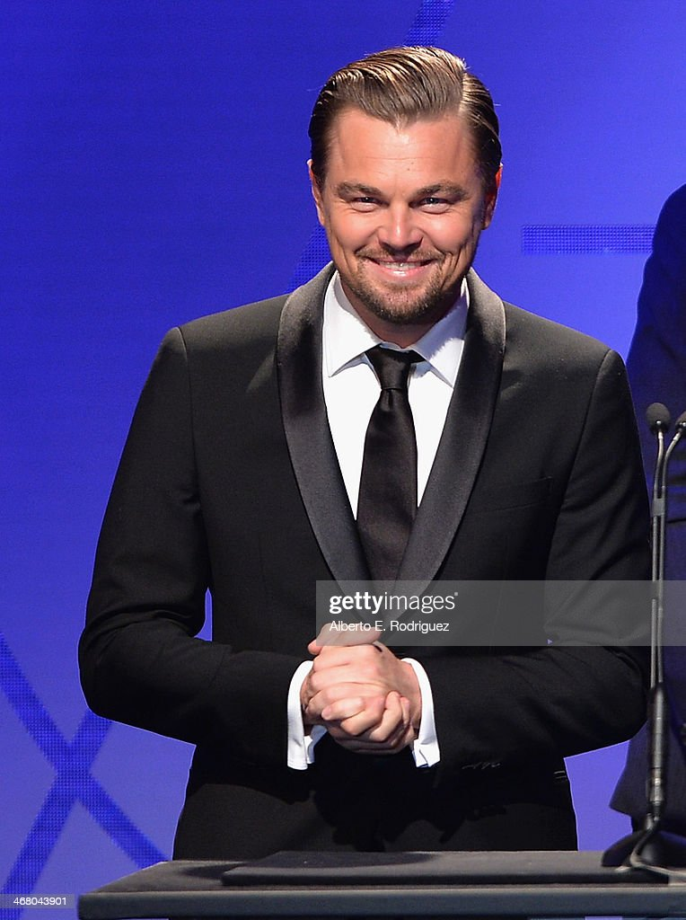 Actor Leonardo DiCaprio speaks on stage atthe 18th Annual Art Directors Guild Exellence In Production Design Awards at The Beverly Hilton Hotel on February 8, 2014 in Beverly Hills, California.