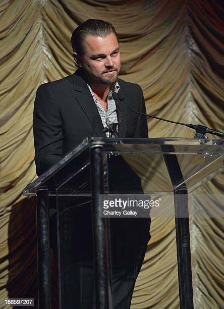 """Actor Leonardo DiCaprio speaks onstage during Gucci's presentation of The Restoration Premiere of """"Rebel Without A Cause"""" at LACMA on November 1,..."""