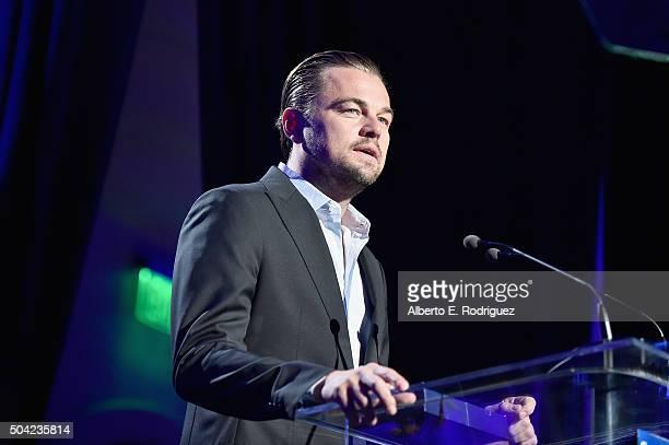 Actor Leonardo DiCaprio speaks onstage during the 5th Annual Sean Penn Friends HELP HAITI HOME Gala Benefiting J/P Haitian Relief Organization at...