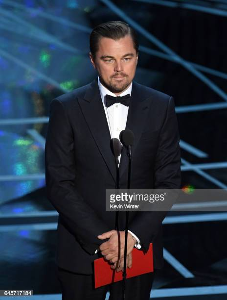 Actor Leonardo DiCaprio speaks onstage during the 89th Annual Academy Awards at Hollywood Highland Center on February 26 2017 in Hollywood California