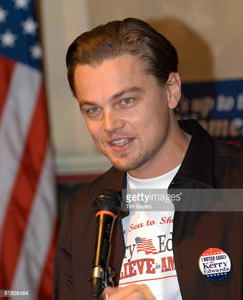 Actor Leonardo DiCaprio speaks to a group of John Kerry supporters October 19 2004 in Tampa Florida DiCaprio told the crowd of about 40 that it was...