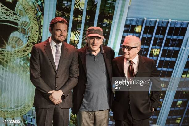 Actor Leonardo DiCaprio, US actor Robert De Niro and US film director Martin Scorsese pose during a press conference ahead of the opening of the...