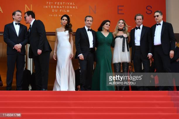 US actor Leonardo DiCaprio US film director Quentin Tarantino and his wife Israeli singer Daniella Pick British film producer David Heyman US...