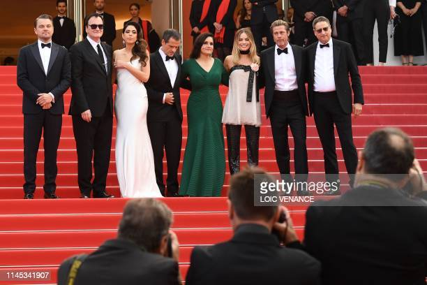 US actor Leonardo DiCaprio US film director Quentin Tarantino and his wife Israeli singer Daniela Pick British film producer David Heyman US producer...