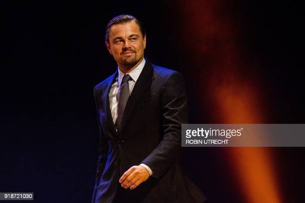 US actor Leonardo DiCaprio walks on the red carpet of the 'Goed Geld Gala' charity event at The Theatre Carre in Amsterdam on February 15 where the...